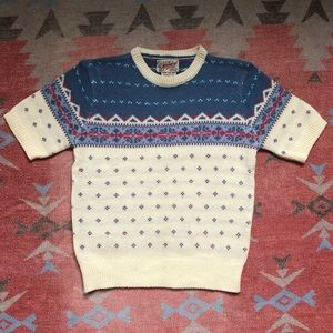 Vintage 1970s Short Sleeve Knit Sweater